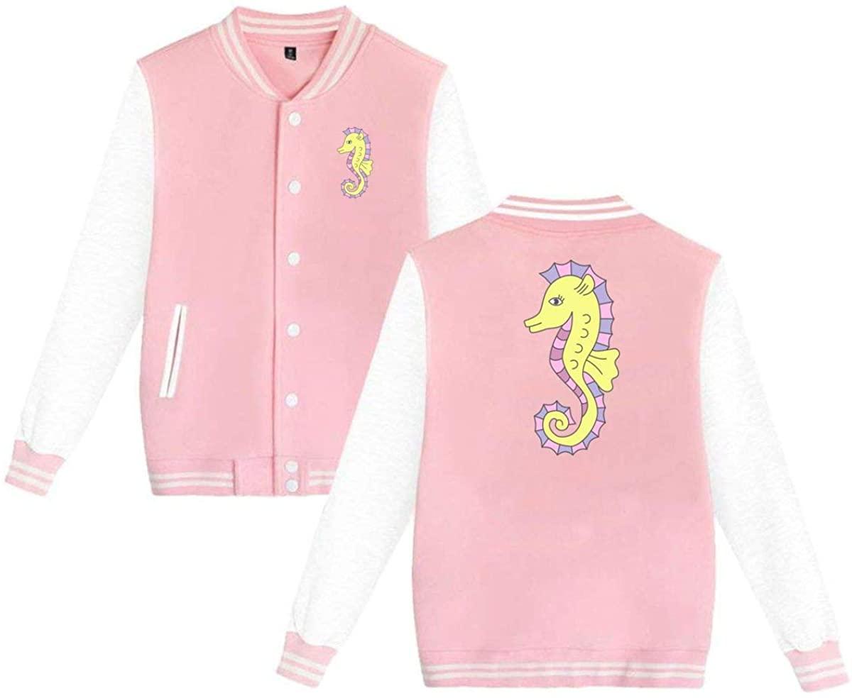 MOCSTONE Unisex Varsity Jacket Sea Horse Baseball Letterman Jackets Sport Coats