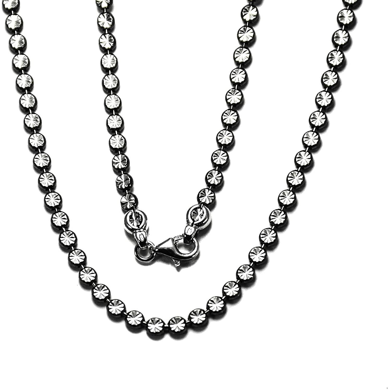 "Beautiful 925 Sterling Silver Star,Diamond cut stars, self-design Chain 3.4 mm,Italian star Necklace with light Black Rhodium, 16"" 18"" 20"" inches"