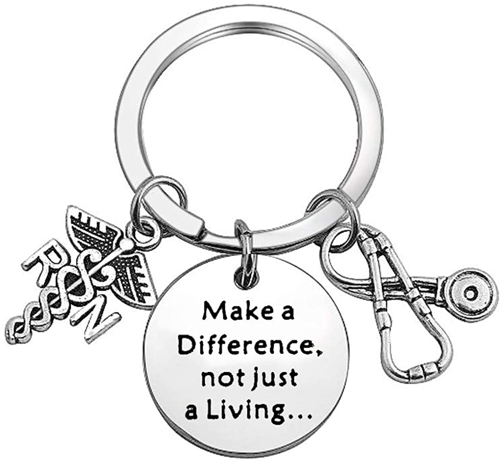 TGBJE Nurse Keychain Make A Difference,Not Just A Living Keychain Stethoscope Jewelry Gift for First Responder, Thank You Gift