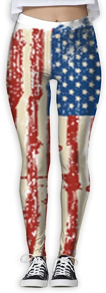MASDUIH American Flag Womans Yoga Jogger Sweatpants High Waist Skinny Leggings.