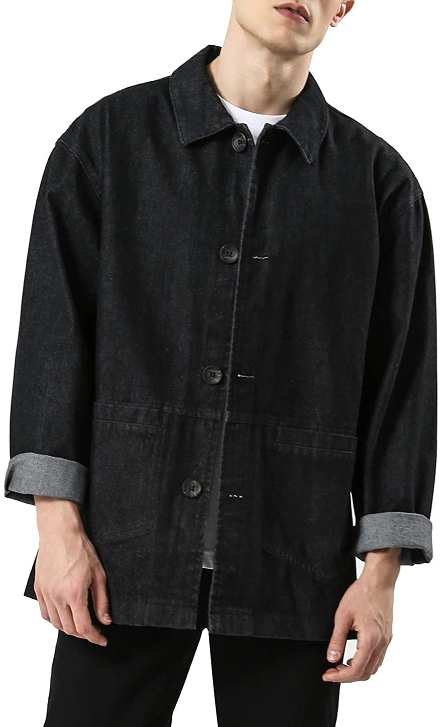 uxcell Men Casual Long Sleeve Black Vintage Dark Denim Jean Jacket