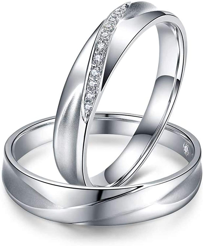 Aokarry Him & Her 18K White Gold Wedding Rings Set Round Diamond