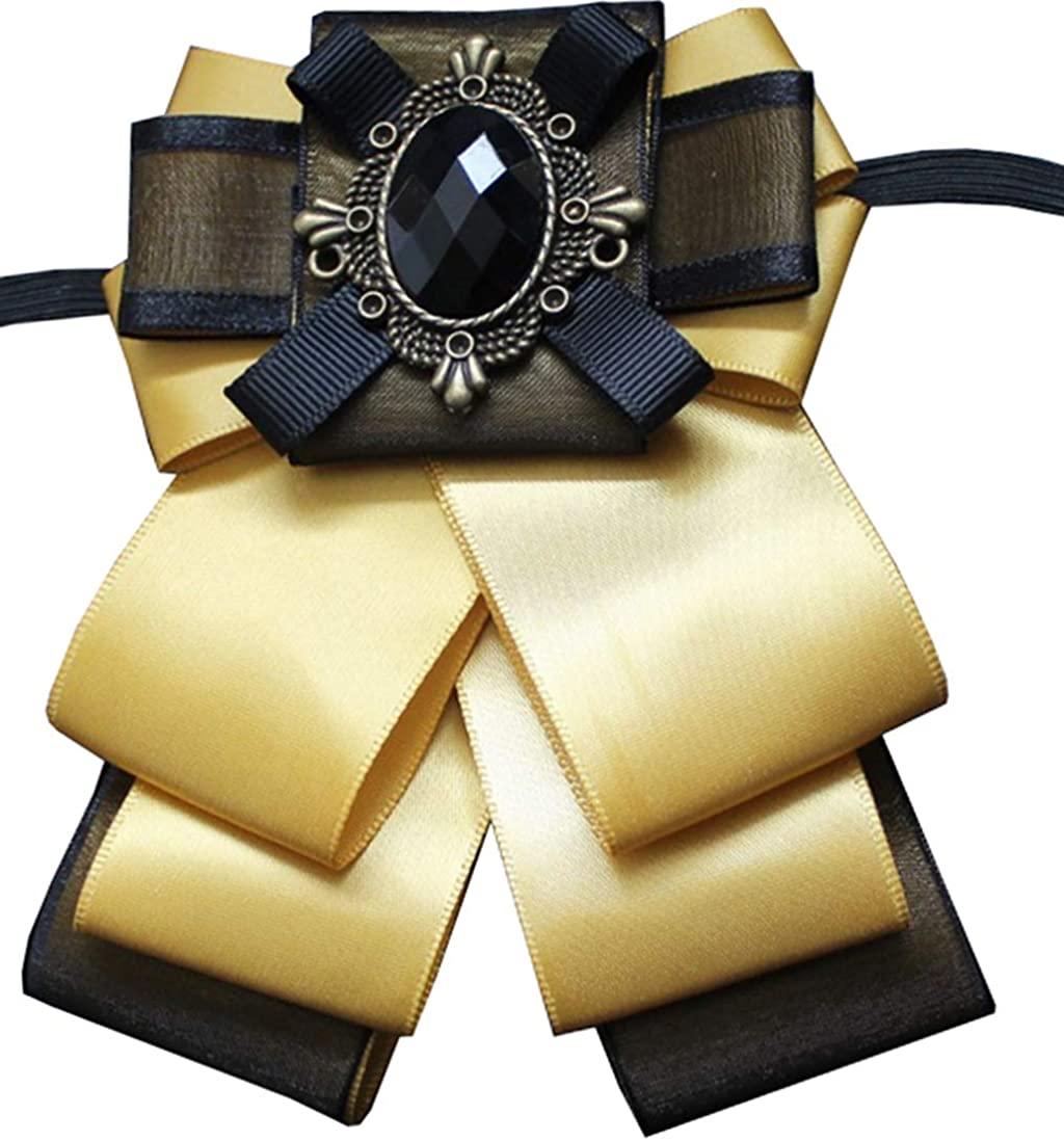 MOHSILY Men's Ribbon Bowknot Brooch Pin Bowtie Crystal Bow Ties Pre-Tied Necktie