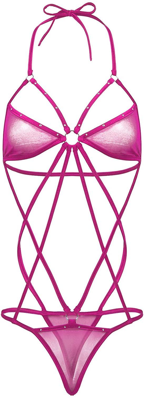 ACSUSS Womens Sheer Mesh Lingerie Halter Neck Backless Strappy Thong Leotard Bodysuit Nightwear
