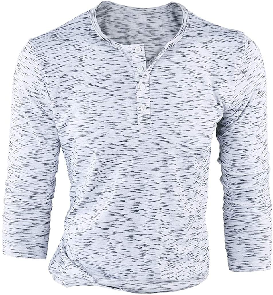FORBUSITE Men Slim Henley T Shirts Long Sleeve Striped