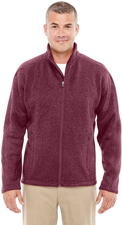 Devon & Jones Mens Bristol Sweater Fleece Jacket, BURGUNDY HEATHER, Large