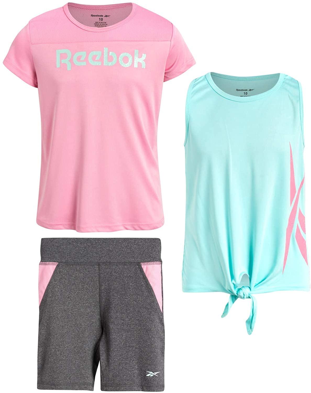 Reebok Girls 3-Piece Workout Active Short Set - Tank Top, T-Shirt and Bike Shorts