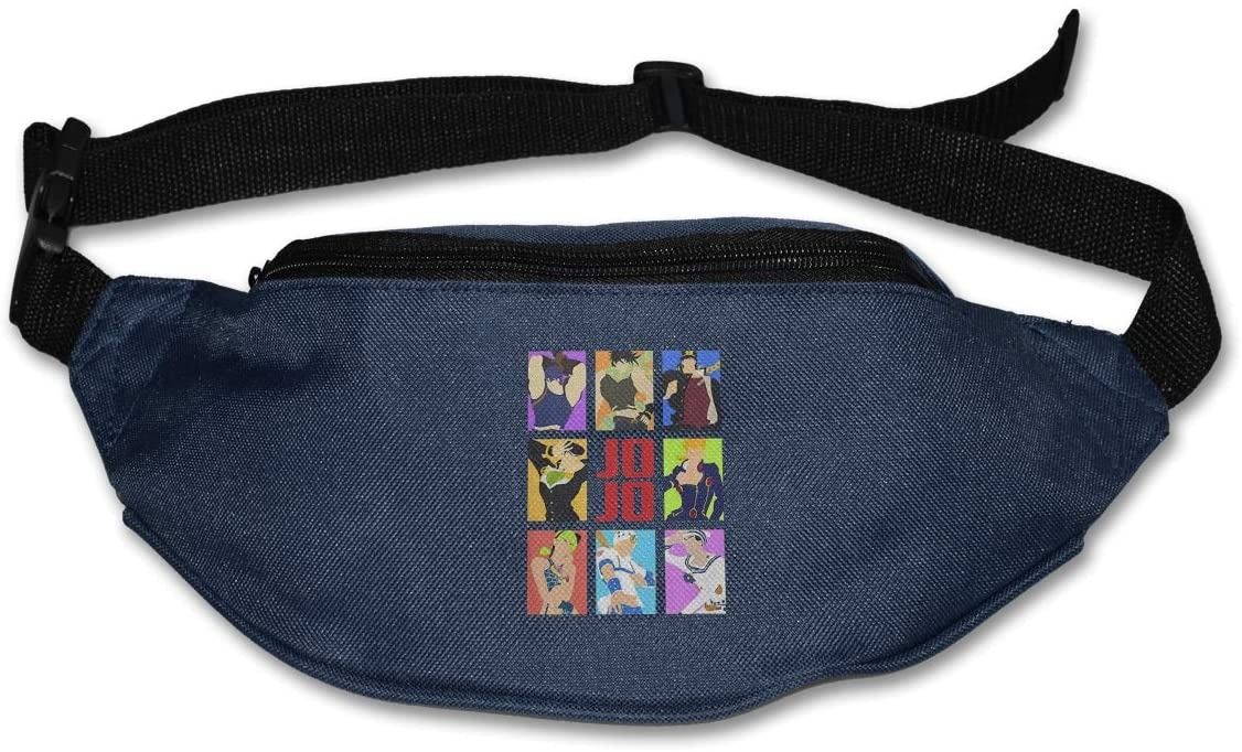 Hwxzviodfjg JoJo's Bizarre Adventure Adjustable Running Belt Waist Pack Belt Fanny Pack Navy