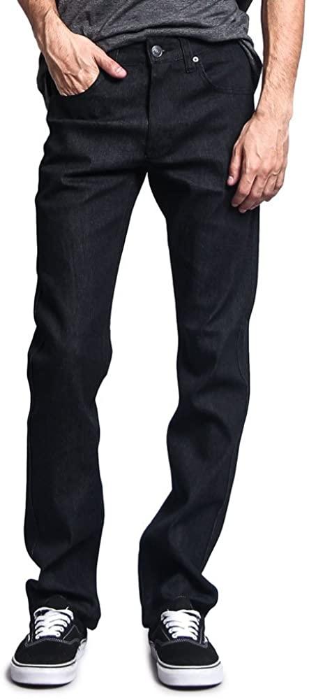 Victorious Men's Slim Fit Unwashed Raw Denim Jeans DL980 - Black - 32/30
