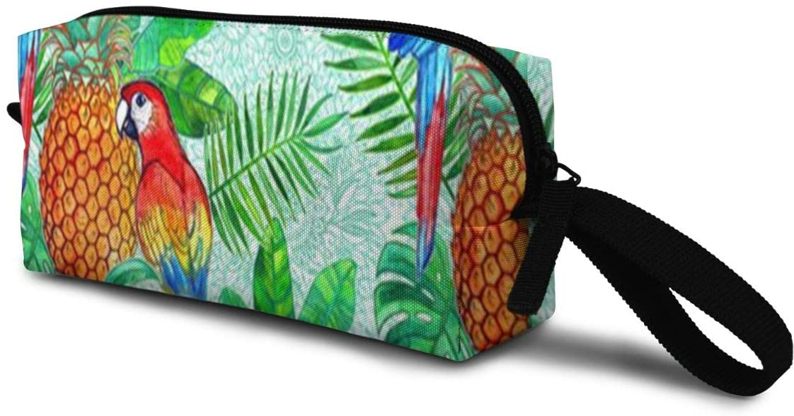 T-JH Summer Pineapples Pattern Mini Makeup Bag,Portable Cosmetic Bag,Organizer,Toiletry Handbag,Sewing Kit,Storage Pouch for Women Purse