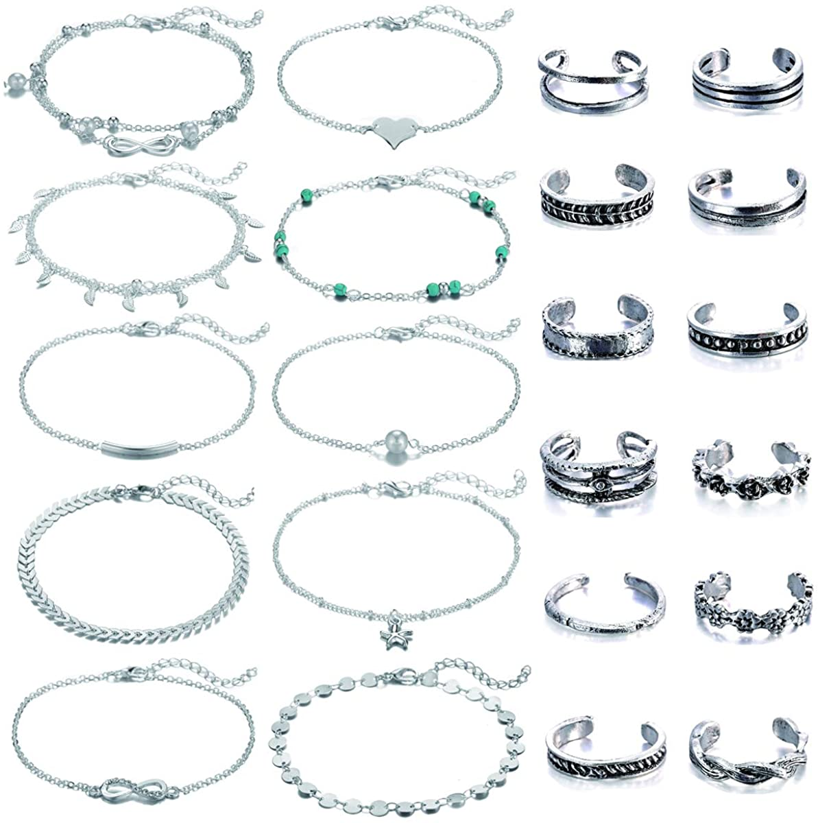 Dremcoue Adjustable Beach Anklets Toe Rings for Women Girls Band Open Toe Ring Anklet Bracelets Chains Beach Foot Jewelry Set 15-22 pcs