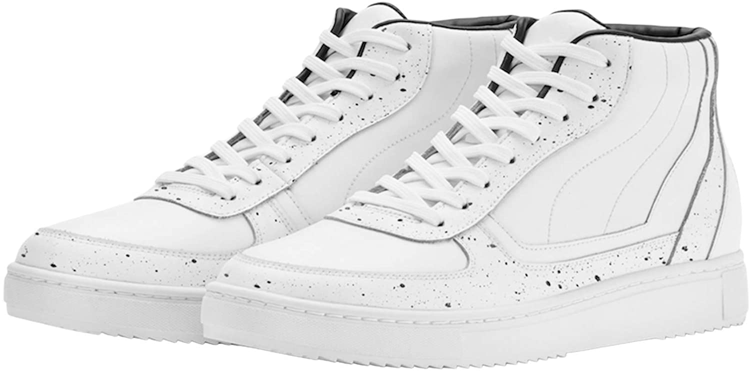 ROOY DEKADE White Leather Mid Top Fashion Sneakers for Men