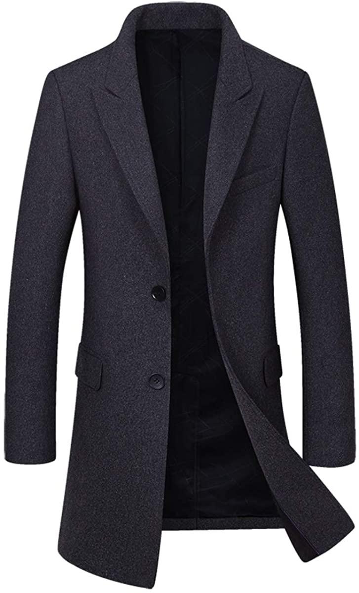 Qinni-shop Men Black Burgundy Gray Navy Wool Slim Trench Coat Casual Winter Long Jacket