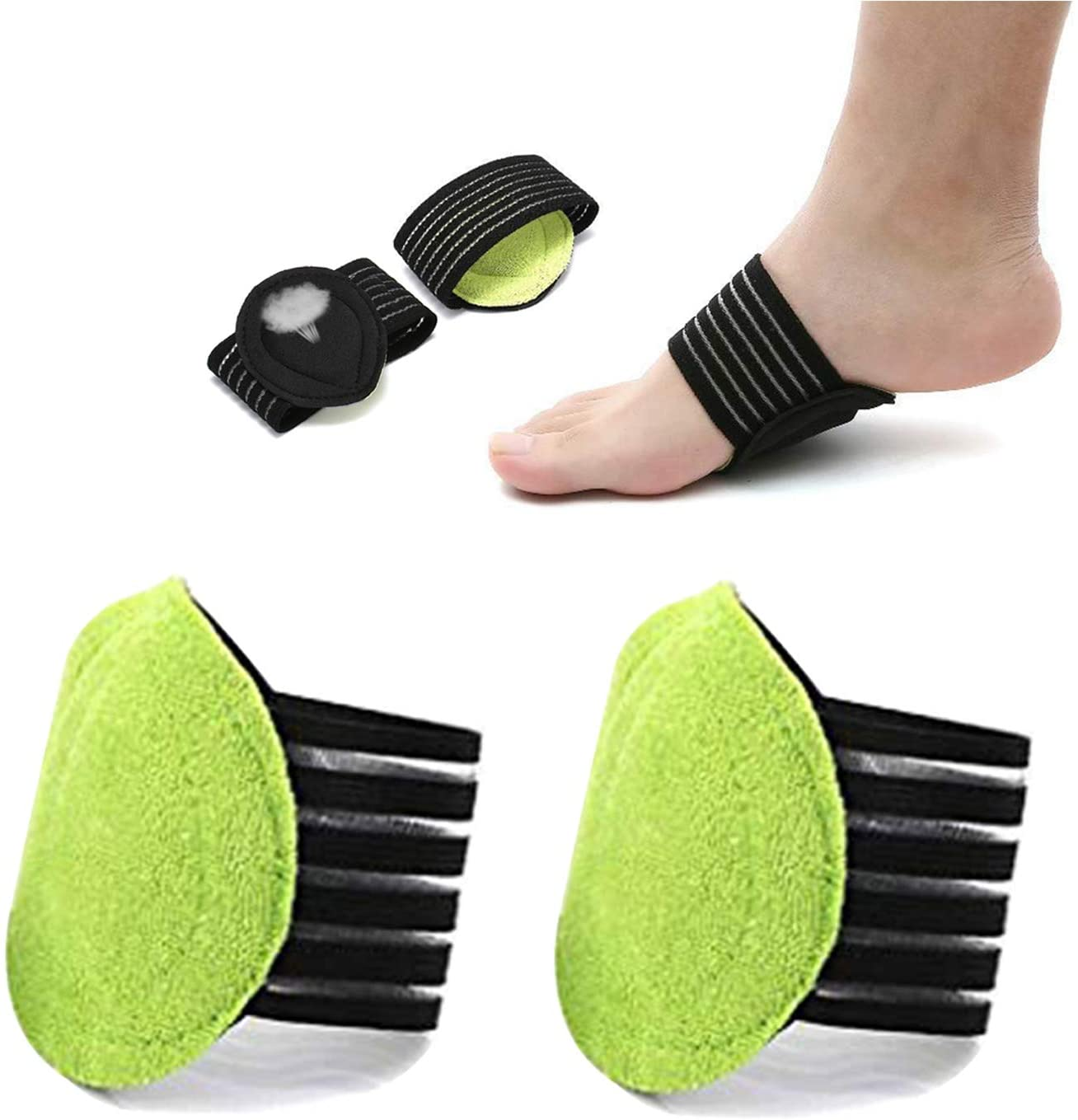 Plantar Fasciitis Support, Compression Cushioned Sleeves with Padded Comfort Cushions High Arch Support for Heel Spurs Achy Foot Plantar Fasciitis Brace for Running, Exercise, Men and Women (2 Pairs)