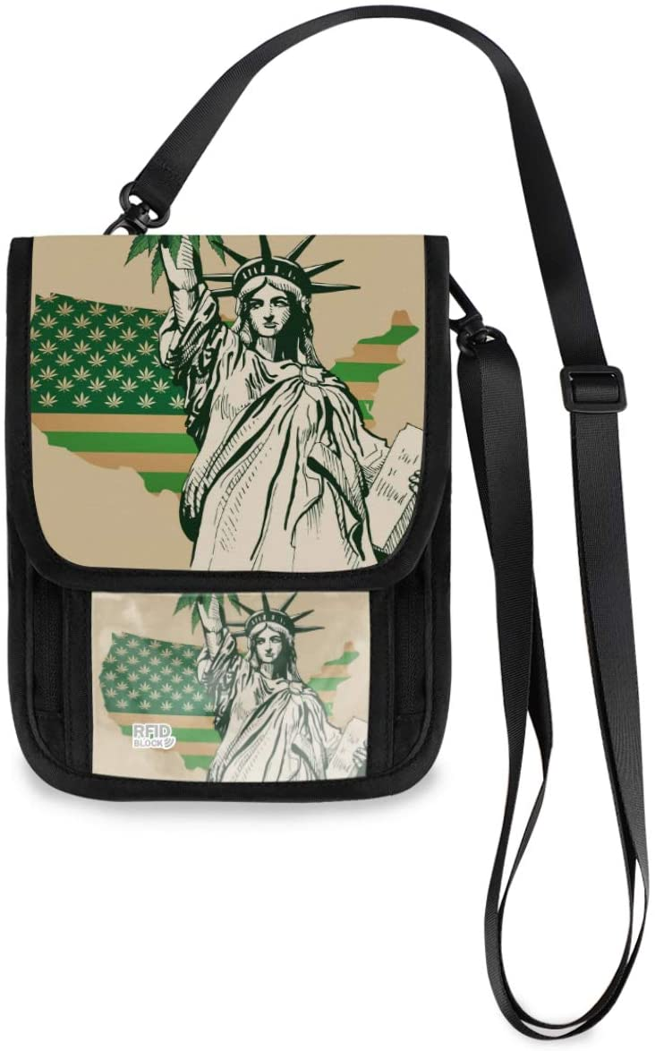 Neck Wallet Travel Neck Pouch - Usa Map Flag Cannabis Leaf Passport Holder with RFID Blocking for Women Men Anti Theft Wallet