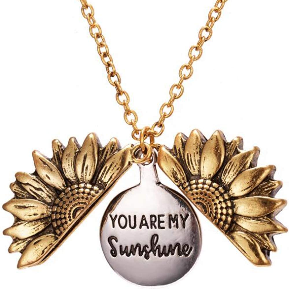 Jude Jewelers Silver Gold Plated Sun Flower Style You are My Sunshine Mantra Statement Pendant Necklace