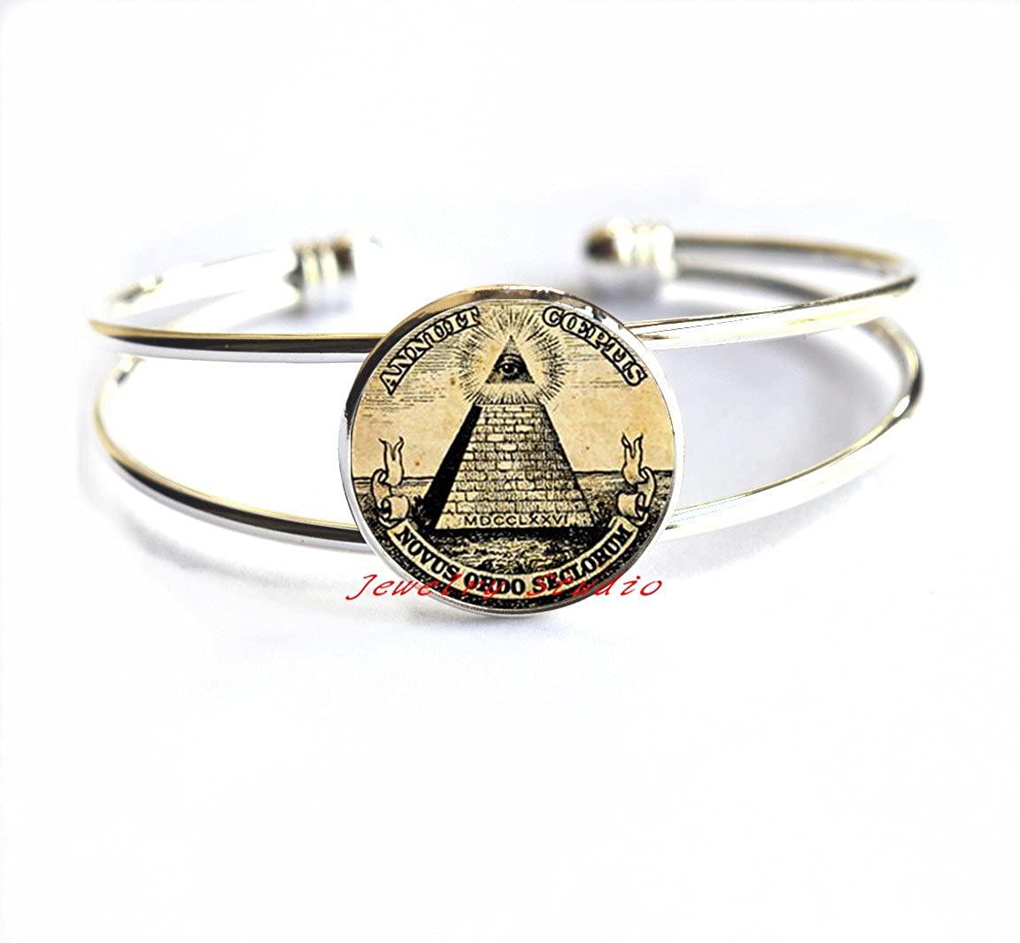 Charming Bracelet,Masonic Jewelry, Novus Ordo Seclorum Bracelets, Occult Pyramid Bracelet, Magic Amulet, Esoteric, Sacred Jewelry,T0026
