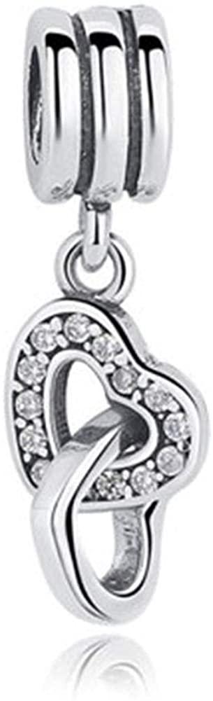 SUNWIDE Interlocked Hearts Highlight Heart Love Bead Charms Fit Pandora Charms Bracelets