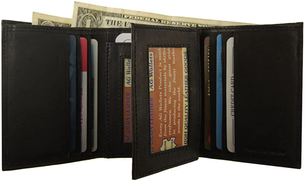 Top Product Mens Genuine Leather Trifold Cowhide 2 ID Center Flap Wallet Tall