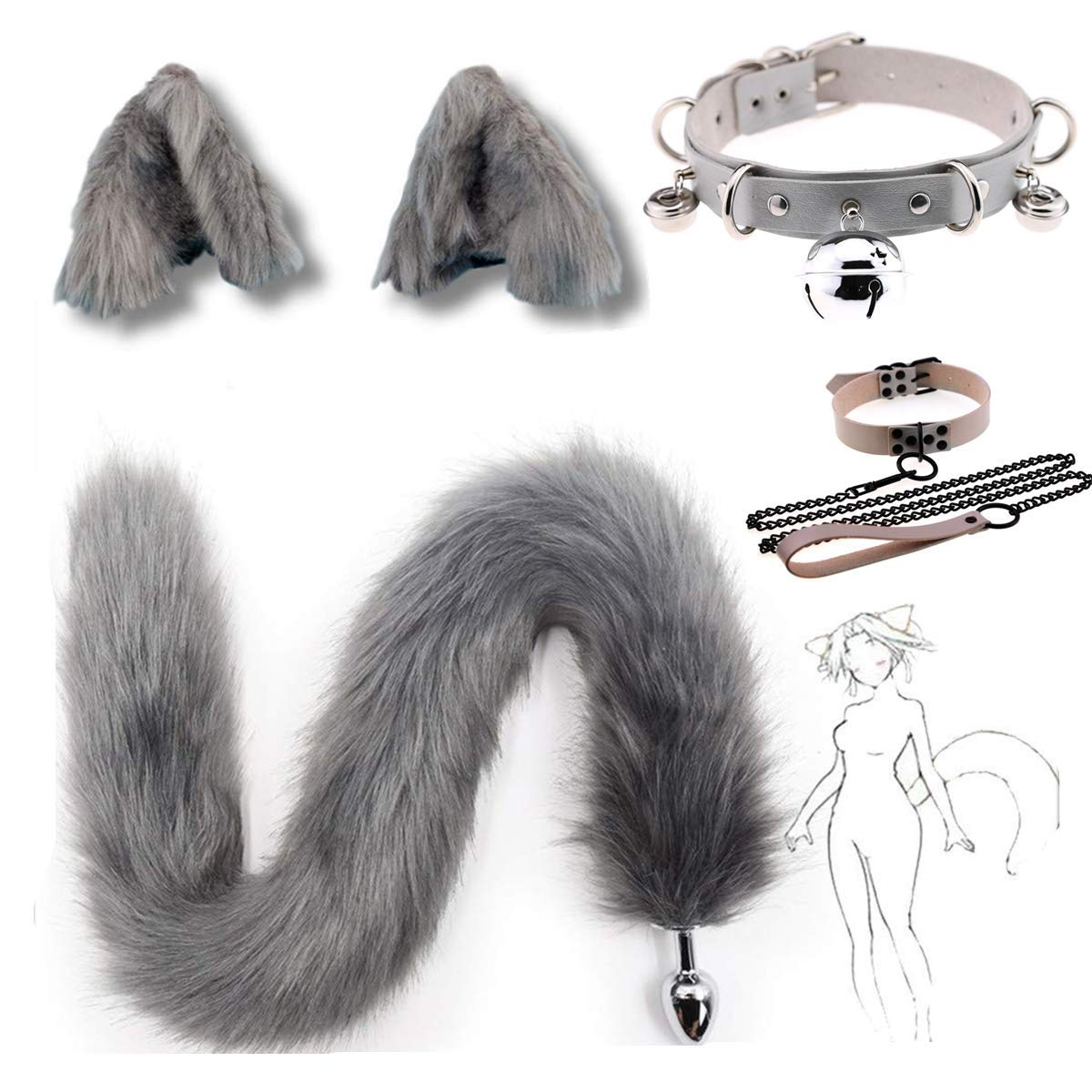 Interval 3 Sizes Fluffy Faux Fox Tail & Cat Ears Headband Charms Role Play Costume Party Cosplay Prop(Size-M)