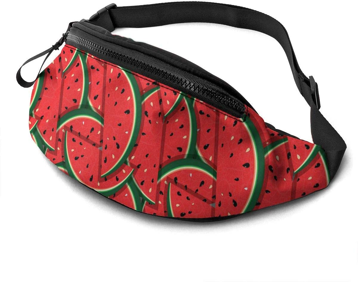 Dujiea Fanny Pack, Cute Red Watermelon Waist Bag with Headphone Hole Belt Bag Adjustable Sling Pocket Fashion Hip Bum Bag for Women Men Kids Outdoors Casual Travelling Hiking Cycling