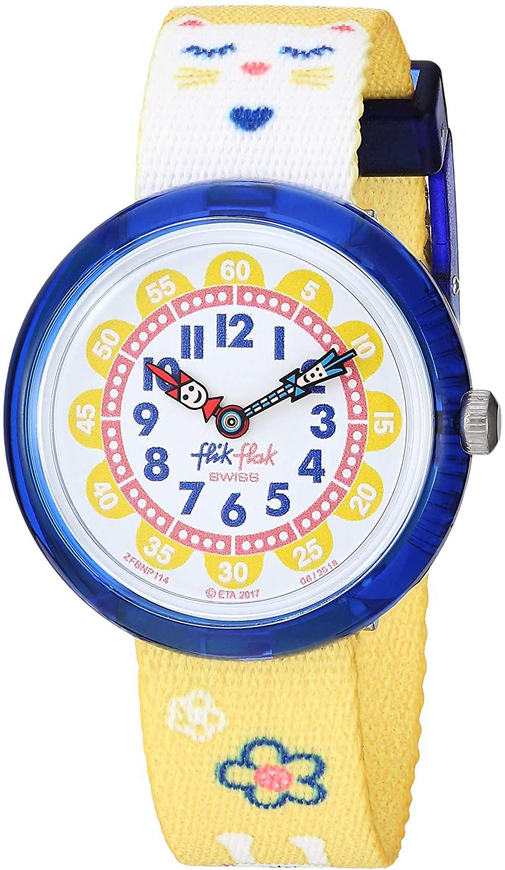 Flik Flak Kids' Color Explosion Quartz Polyester Strap, Yellow, 14 Casual Watch (Model: ZFBNP114)