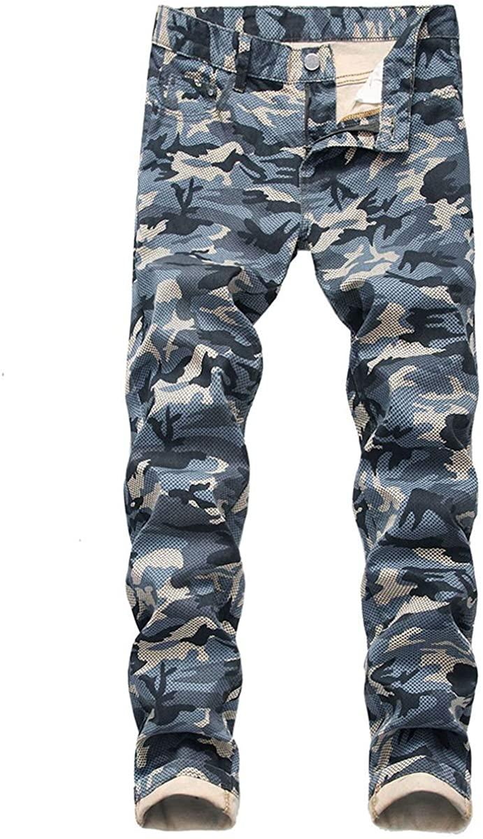 Cloudstyle Mens Casual Skinny Jeans Camo Print Biker Moto Denim Pants