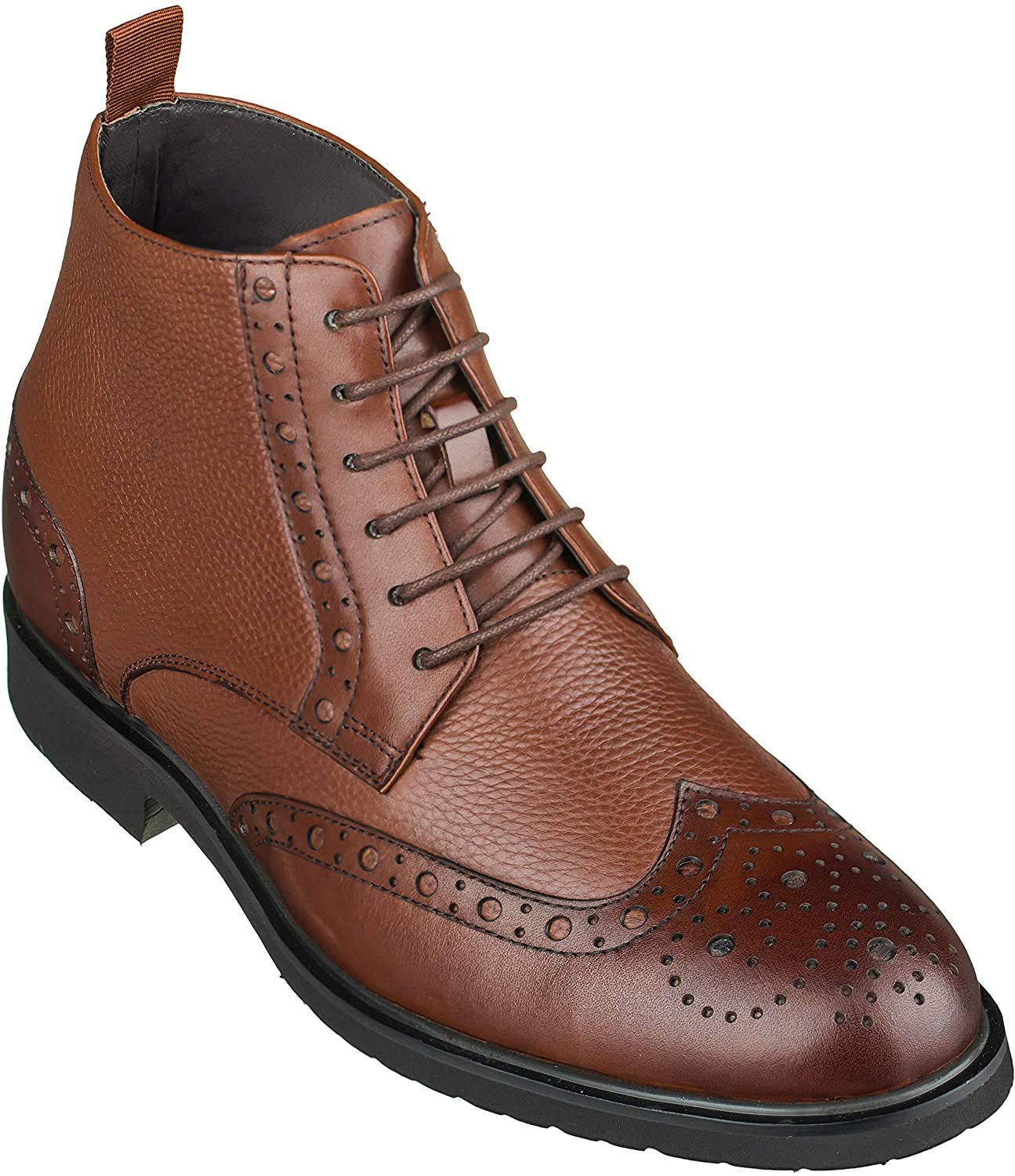 CALTO Men's Invisible Height Increasing Elevator Shoes - Leather Lace-up Wing-Tip Lightweight Dress Boots - 3 Inches Taller
