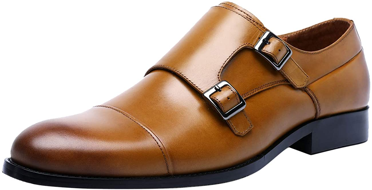 Men Leather Shoes Classical Double Monk Strap Cap Toe Slip On Dress Loafers Oxford Shoe for Man