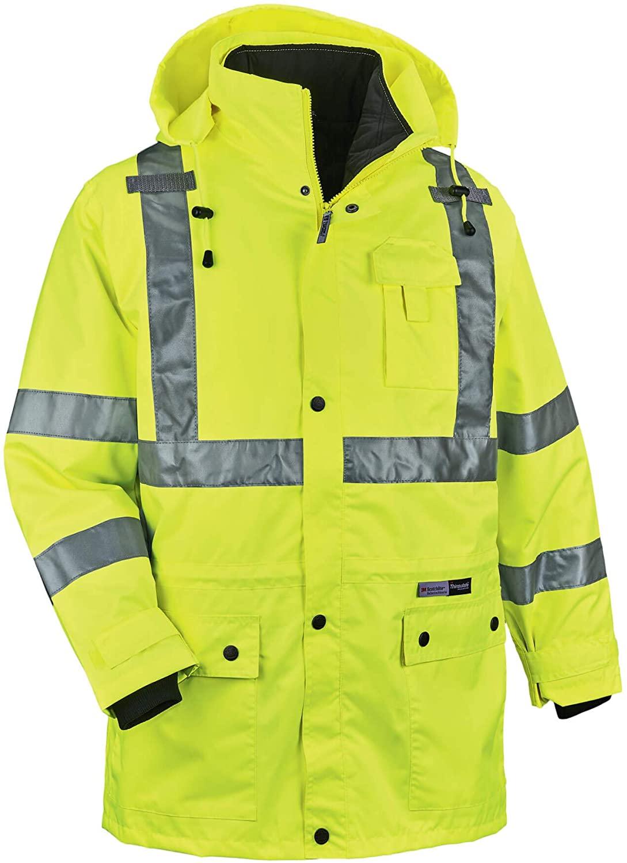 Ergodyne GloWear 8385 ANSI High Visibility 4-in-1 Reflective Safety Jacket, Lime, X-Large