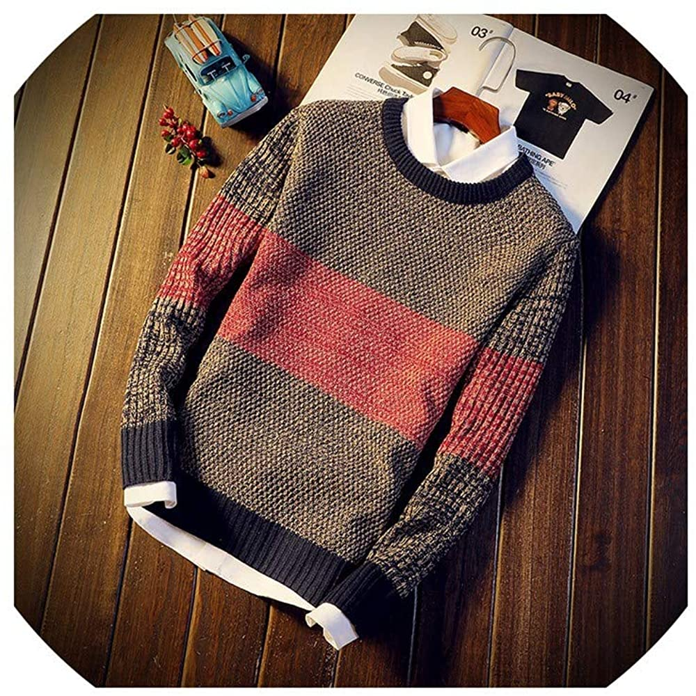 LYSHENG Men Sweater Pullovers Jumper Men's O Neck Mixed Color Youth Teens Trend Long Sleeve Sweaters Men
