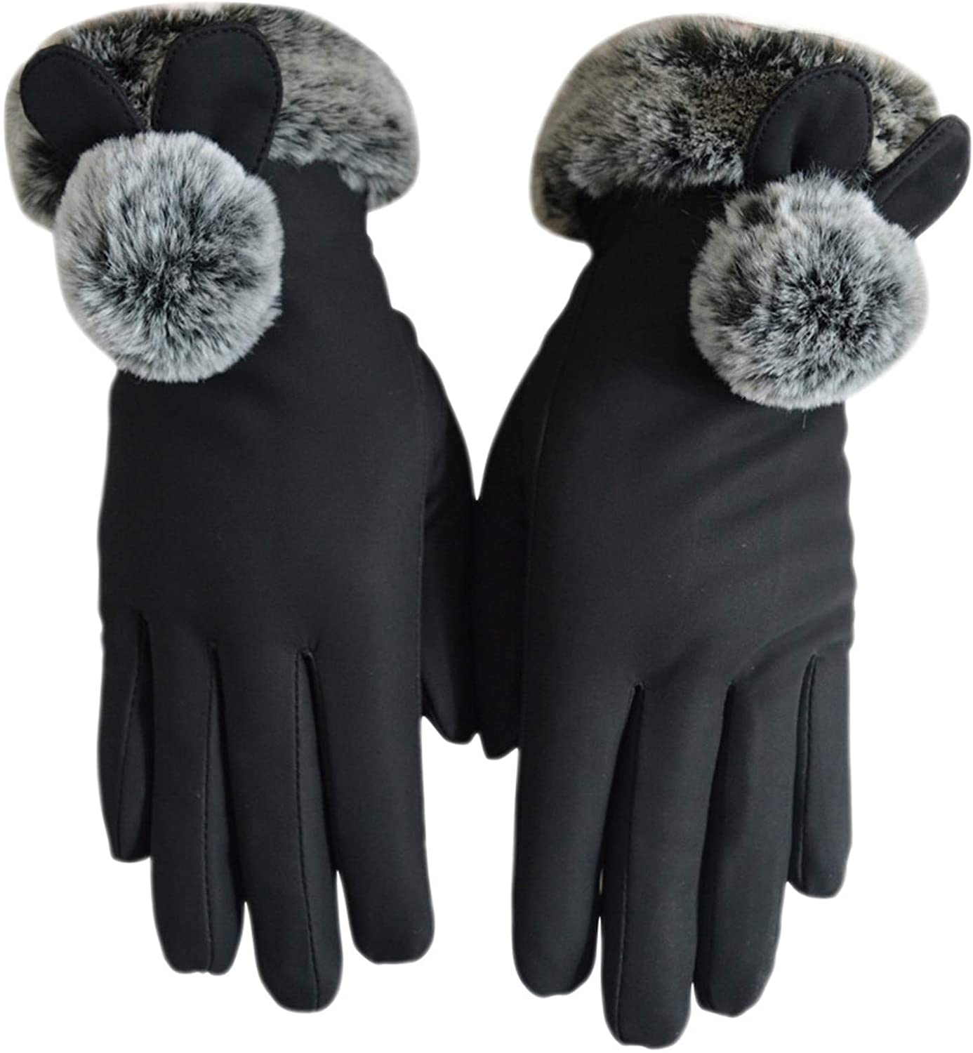 Soluo New Suede Gloves Winter Warm Touch Screen Gloves Women's Points Refer to Riding Gloves