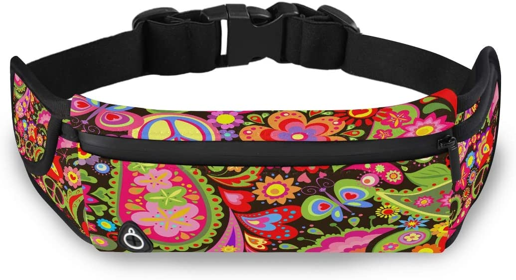 Hippie Vivid Decorative Wallpaper Colorful Flowers Fashion Casual Bag Canvas Waist Pack Men Running Waist Pack With Adjustable Strap For Workout Traveling Running