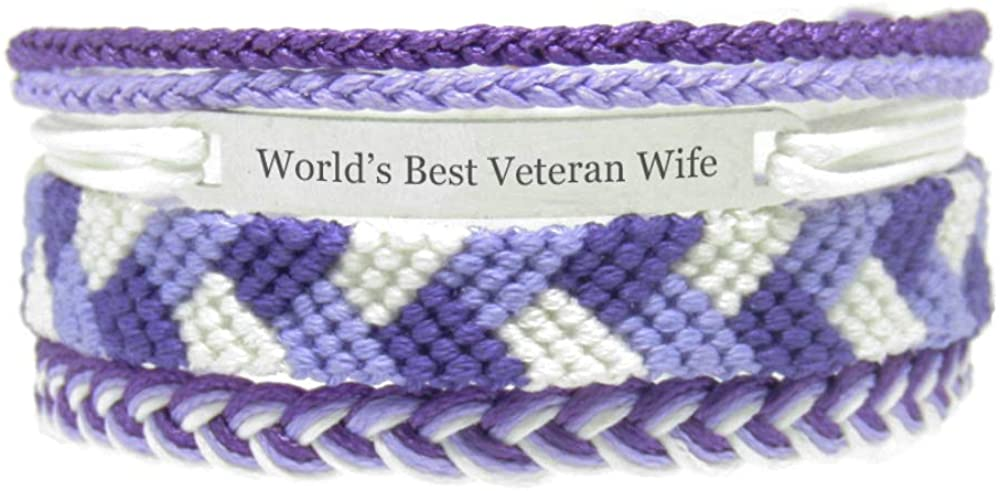 Miiras Family Engraved Handmade Bracelet - World's Best Veteran Wife - Purple - Made of Embroidery Thread and Stainless Steel - Gift for Veteran Wife