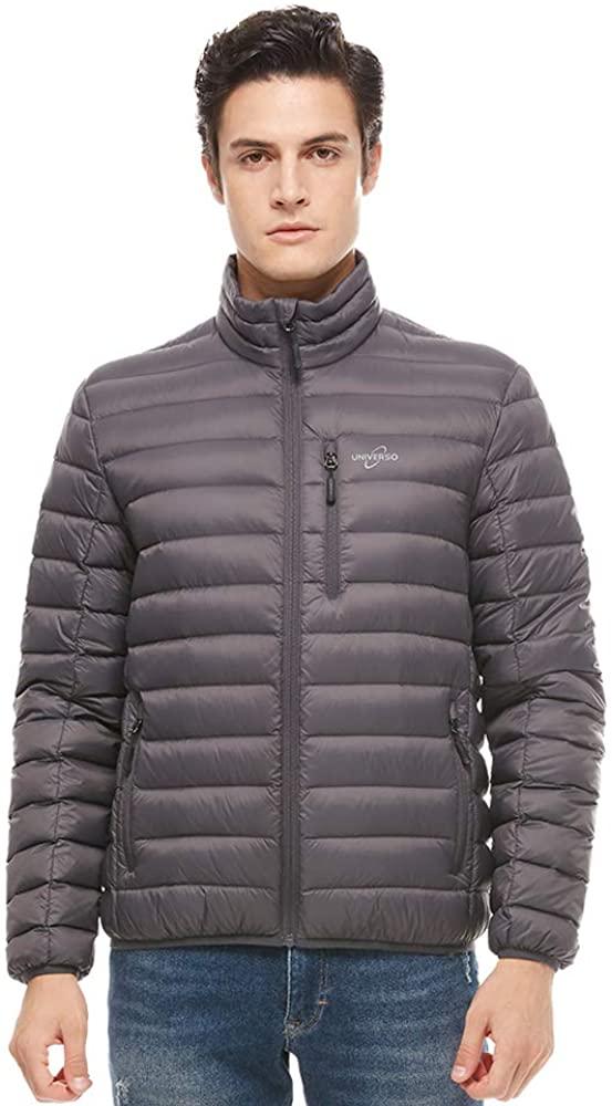 Universo Men's Packable Insulated Down Jacket Zip Up Lightweight Puffer Jacket Coat Winter Outerwear