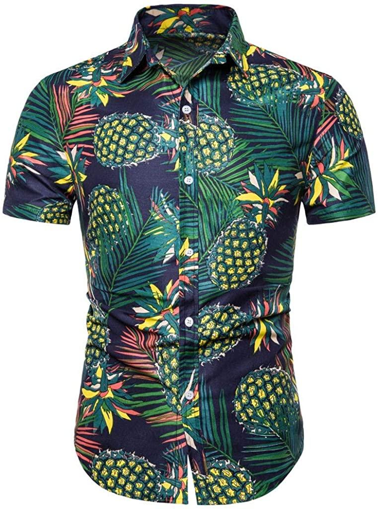 Men's T-Shirts Casual Hawaii Short Sleeve T- Shirts 3D Pineapple Print Slim Henley Tee Tops