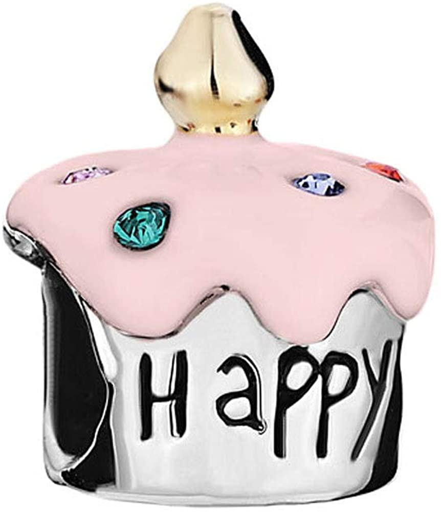 DemiJewelry Happy Birthday Cake Charms Beads for Charm Bracelets