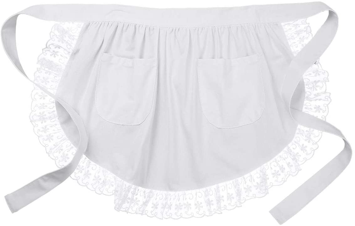 iiniim Floral Lace Half Waist Apron Bib Maid Costume with Pocket Kitchen Party Favors for Women Girls White One Size