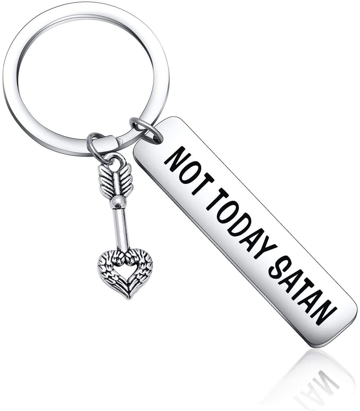 Not Today Satan Keychain Inspirational Gift for Best Friend Gift Motivational Keychain Best Friend Keychain Inspirational Keychain for Brother Gift Sister Gift Daughter in Law Gift Religious Keychain