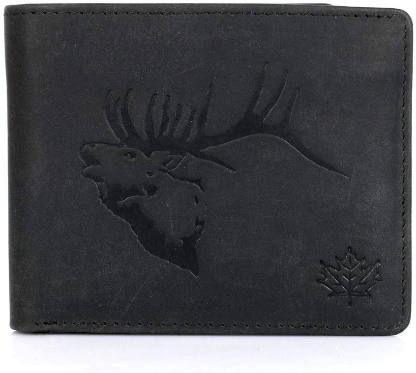 Karla Hanson Mens RFID Blocking Leather Wallet (Black Elk)