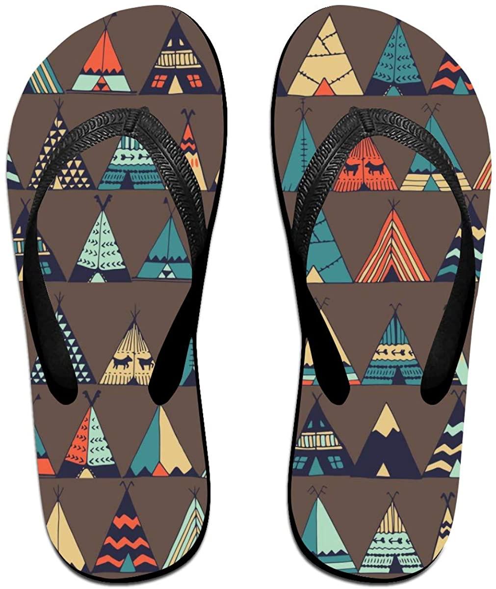 Mens Flip Flop Slippers Cute Cartoon Teepee Native American Summer Tent Rubber Comfy Flip Flops Outdoor Beach Sandals