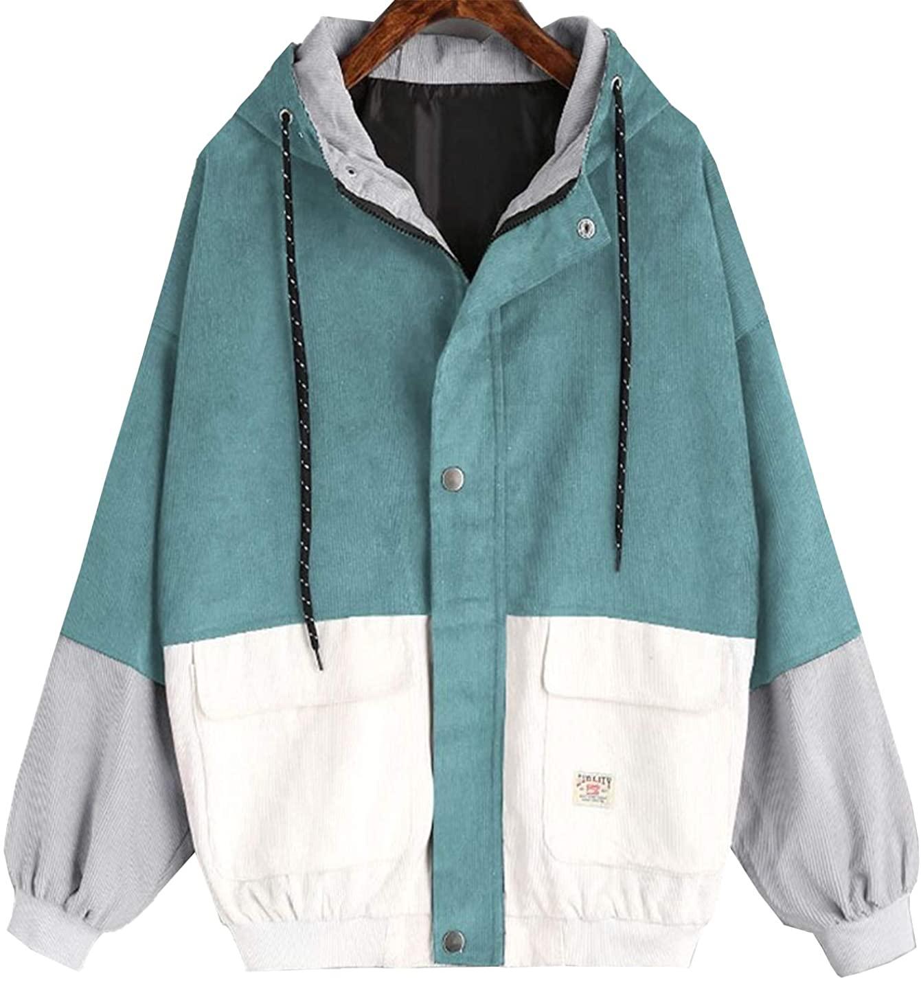 Flygo Womens Zip Up Corduroy Patchwork Oversize Jackets Hoodies Windbreaker Coat Overcoat