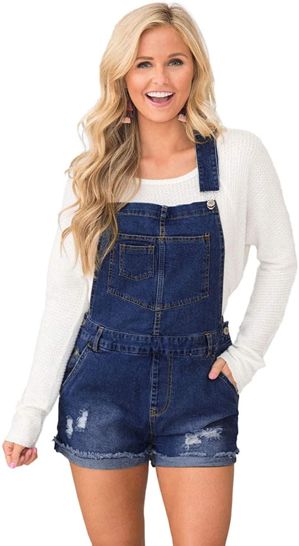 Z&A Womens Rippped Distressed Denim Bib Overalls Shorts Shortall Jeans