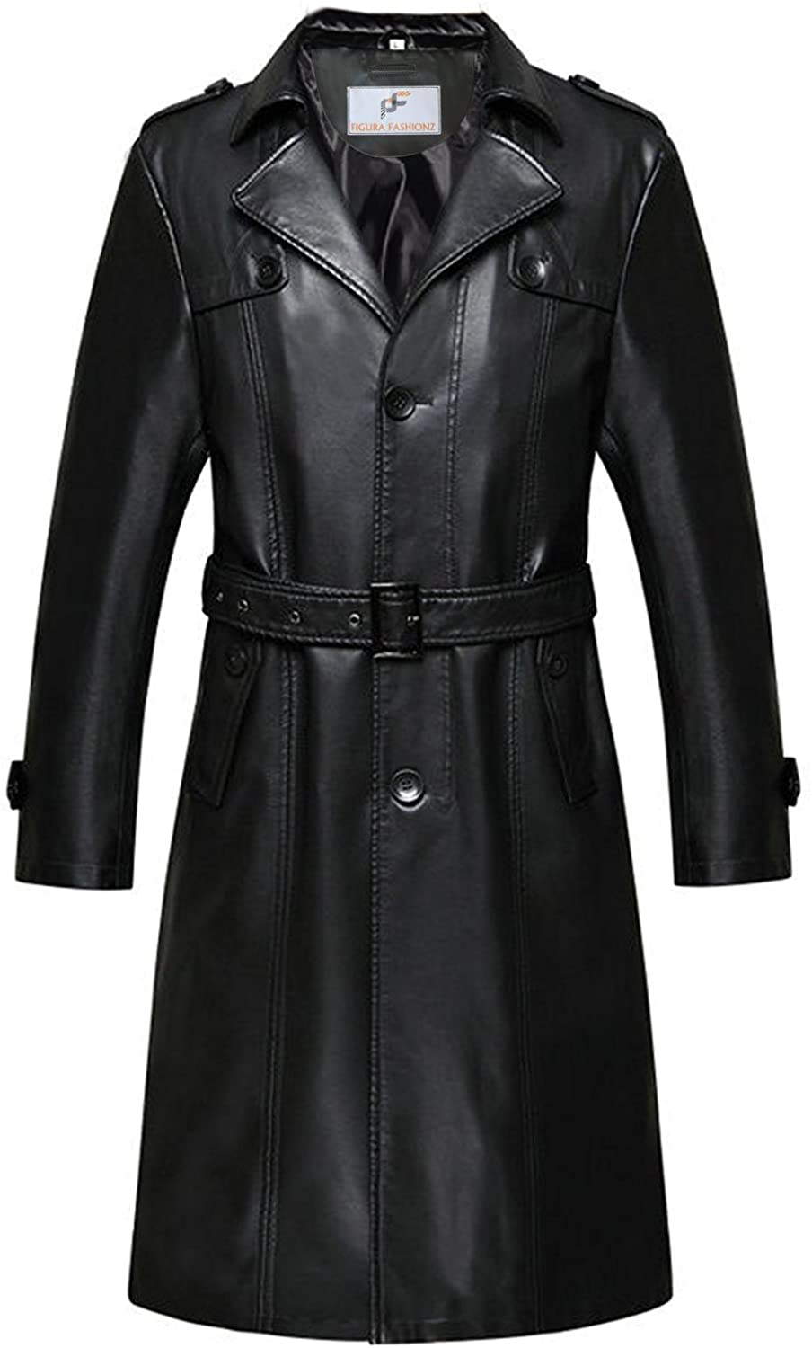 Figura Fashionz Thick Faux Leather Long Body Coat with Adjustable Waist Belt - Perfect Coat for Leather Coat Lovers