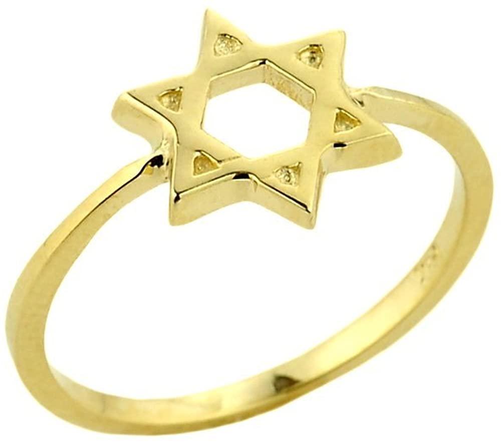 Dainty 14k Yellow Gold Band Jewish Star of David Ring for Women