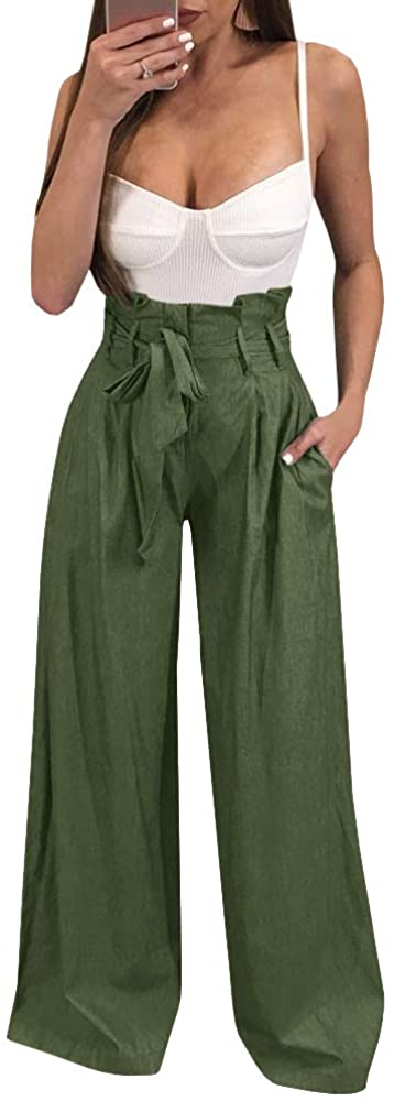 Ybenlow Womens High Waisted Palazzo Pants Wide Leg Stretch Trouser Pant Belted with Pockets