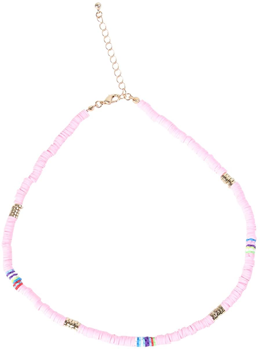Happyyami Women Bohemian Bead Necklaces Glass Beaded Choker Summer Hawaii Neck Jewelry For Girls Party (Pink)