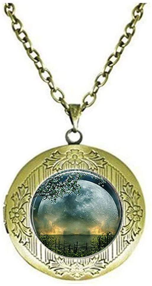 Summer Solstice Locket Necklace, Full Moon Locket Necklace, Solstice Jewelry, Wiccan Jewelry, Pagan Jewelry, Christmas Gift