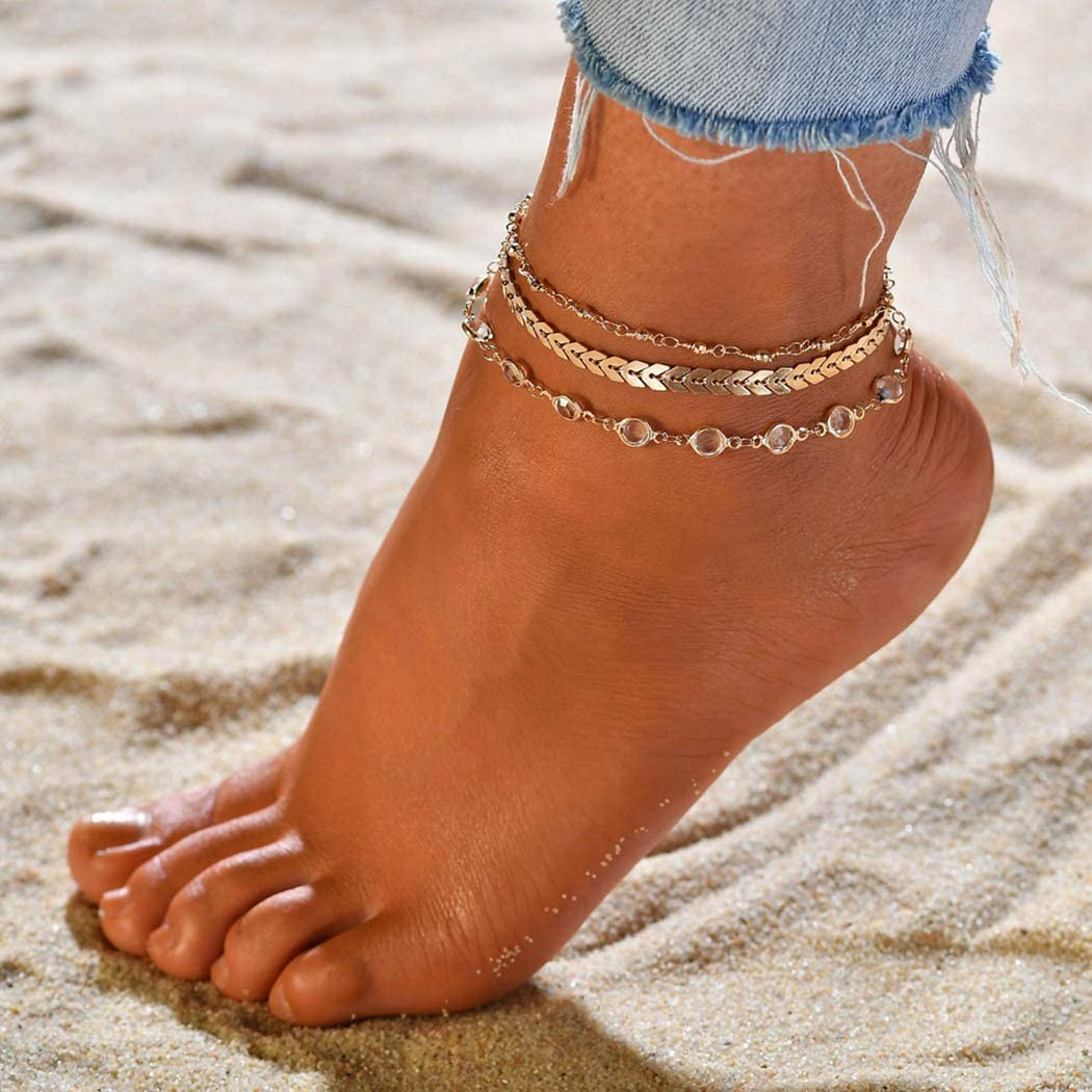 Jeweky Boho Layered Crystal Anklets Gold Fish Bone Ankle Bracelets Chain Beach Foot Jewelry for Women and Girls