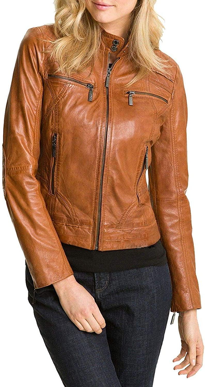 Ladies Real Leather Jacket Stylish Fashion Designer Waxed Soft - Biker Motorcycle Style Jacket